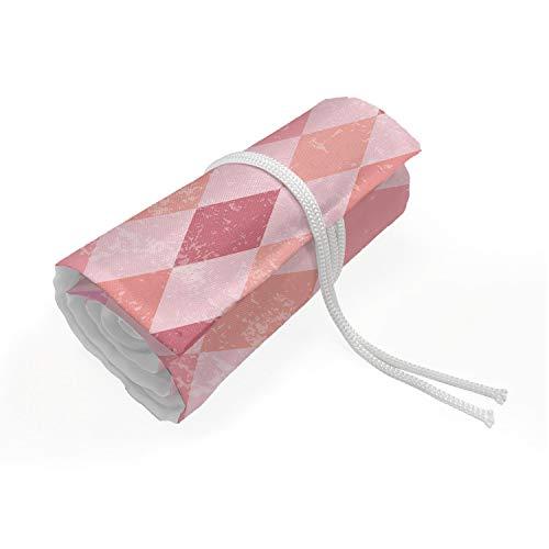ABAKUHAUS Geometrisch Mäppchen Rollenhalter, Rosa Diamant-Form, langlebig und tragbar Segeltuch Stiftablage Organizer, 72 Schlaufen, Rosa Pfirsich Getrocknete Rose