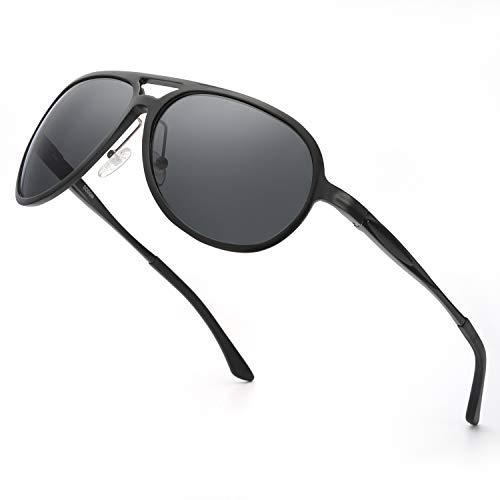 ELIVWR Pilotenbrille Sonnenbrille Herren Polarisier Metallrahmen Leicht für Autofahren, 100% Schutz vor Schädlichen UVA/UVB Strahlen (schwarz)