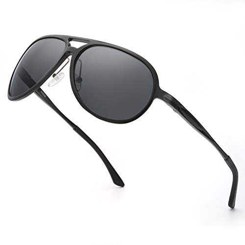 ELIVWR Hombre Aviador Polarizadas Gafas de Sol Ultraligero Metal 100% de Protección Contra los Rayos UVA/UVB Dañi (Negro2)