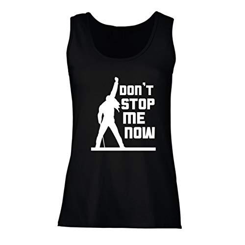 lepni.me Camisetas sin Mangas para Mujer Don't Stop me Now! Camisas de Abanico, Regalos de músicos, Ropa de Rock (Large Negro Multicolor)