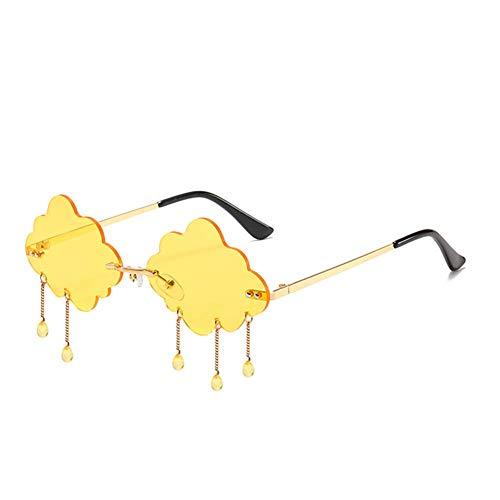 HDCRAFTER Wolkenform randlose Sonnenbrille für Frauen Regen-Sonnenbrille übertriebene Kristallanhänger Brille, Gelb (gelb), Einheitsgröße