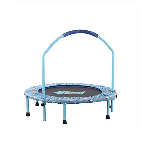 LKNJLL 38' Foldable Mini Trampoline, Fitness Rebounder With Adjustable Foam Handle, Exercise Trampoline for Kids Adults Indoor/Garden Workout Max Load 330lbs (Color : Blue)