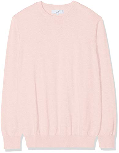 MERAKI Men's Lightweight Cotton Crew Neck Jumper, Pink (Pale Pink), 40 (Size: Medium)