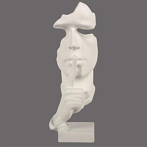 JSHN Creativo Astratto Statue pensatore Il Silenzio è Oro Scultura Nord Europa Resina Statua Artigianato per Soggiorno Ornamento Vintage arredi per Ufficio Regali(h28cm)