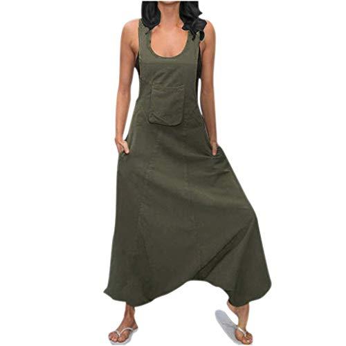 FRAUIT Salopette Donna Lino Cotone Summer Casual Plus Size Oversize Pantaloni Ragazza Estivi Cavallo Basso Jumpsuit Estiva Largo Salopette Elegante Estiva Pantaloni Larghi Taglie Forti