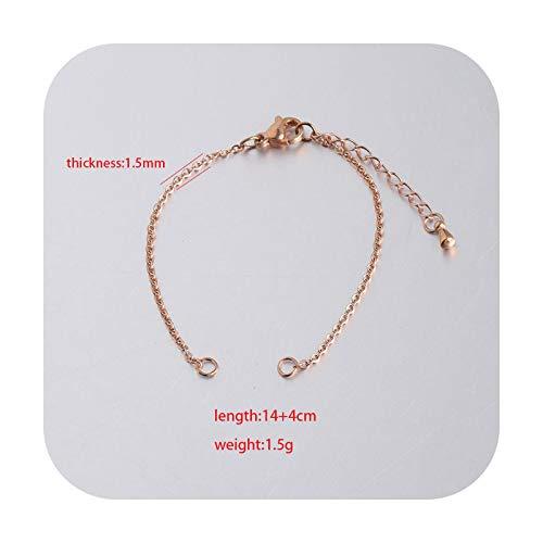 Accessorie 50 pulseras de cadena de acero inoxidable para hacer accesorios de joyería, 1,5 mm de grosor, 14+4 cm de longitud, como se muestra en la imagen