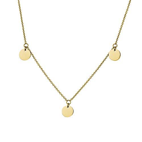 URBANHELDEN - Edelstahl Damen Kette Münzen - Halskette Edelstahlkette mit runden Anhängern - Festival Boho Schmuck - Geometrisches Design drei Plättchen Gold
