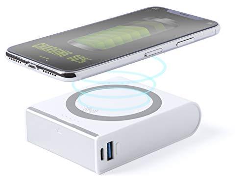 MKTOSASA - Power Bank 8000mAh y Carga Inalámbrica. Carga Rápida y Soporte para Smartphones. Carga 4 Dispositivos simultáneamente. para iPhone, Samsung, Android, Móviles, Tabletas - 2.6x7.4x9.7