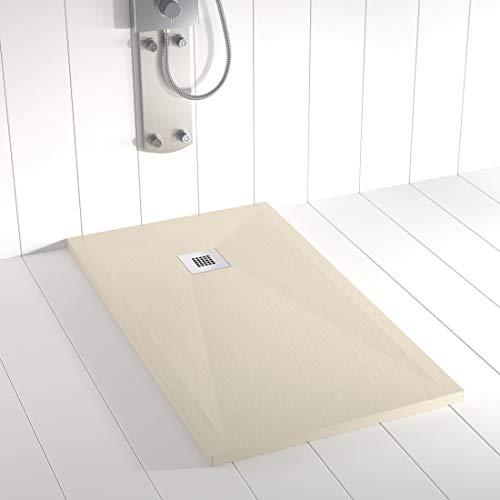 Shower Online Plato de ducha Resina PLES - 70x80 - Textura Pizarra - Antideslizante - Todas las medidas disponibles - Incluye Rejilla Inox y Sifón - Crema RAL 1015