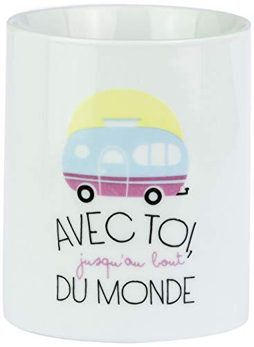 Mr Wonderful WOM00234 Mug - avec toi, Jusqu'au Bout du Monde, Céramique, Multicolore, 11,9 x 8,6 x 10,3 cm