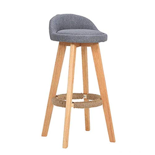 WTT barkruk massief houten stoel frame draaistoel hoge kruk eenvoudig huishouden eettafel barkruk bank voorstoel hoog 73 cm (kleur: blauw) grijs