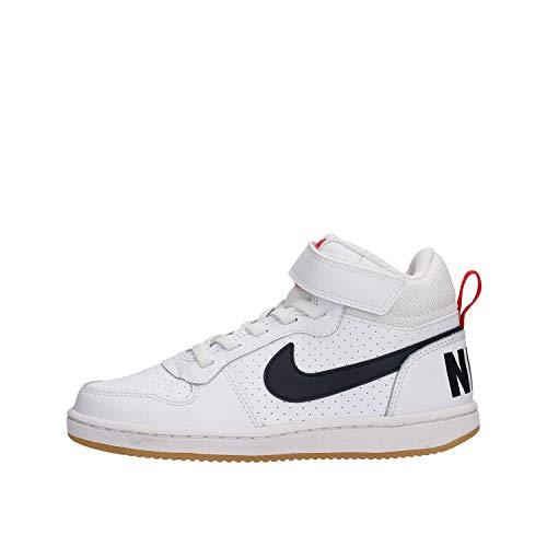 Nike Court Borough Mid (PSV), Scarpe da Basket Bambino, White/Obsidian-University Red, 32 EU