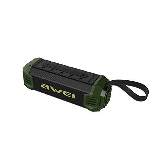 SHENGY Altavoz Bluetooth al Aire Libre del bajo handfree con la Radio de FM, 4000Mah Banco de la energía NFC Altavoz inalámbrico Ipx4 Impermeable y a Prueba de Polvo,Green