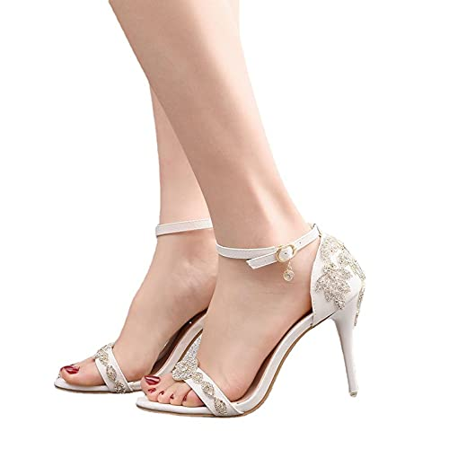 Zapatos De Novia Para Mujer, Sandalias De Tacón Alto De 9 cm, Dama De Honor Boda Cinturón De Una Palabra Con Lentejuelas De Cristal Sandalias De Punta Abierta Con Tacón De Aguja Romano,Blanco,35EU