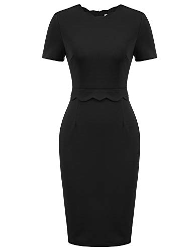 GRACE KARIN Women Work Business Cocktail Black Pencil Dress(Small,Black)