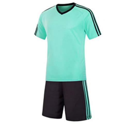 Inlefen Football Training Suit Fußballtrikot kurzärmliges Fußballtraining Fußballbekleidung Set EIN Fußballtrikot und EIN kurzes Jugend Set hellgrün -S