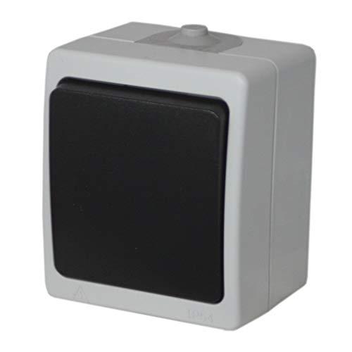 Aufputz Feuchtraum Lichtschalter | Ein/Aus-Schalter | Stromschalter | IP44 Spritzwassergeschützt | Wippenschalter für Außenbereich
