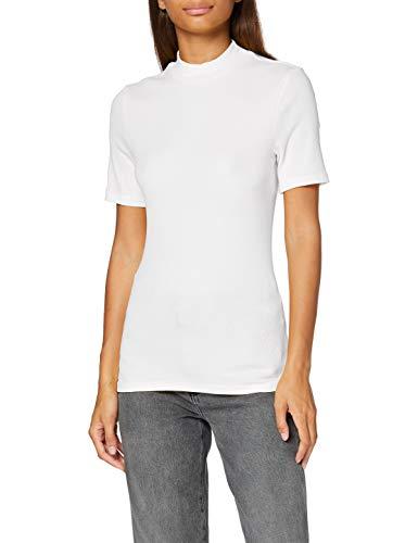 PIECES PCBIRDIE SS T-Neck Noos BC T-Shirt, Bianco, L Donna