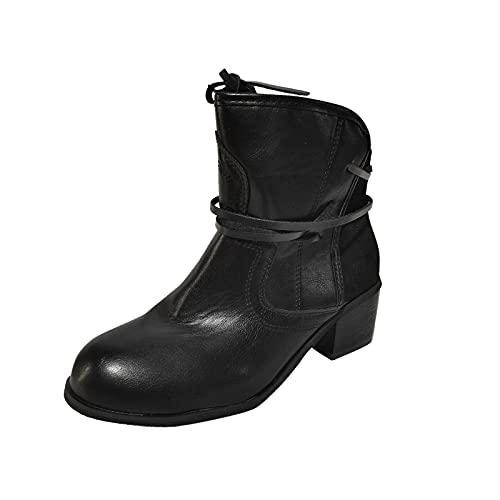 Bottines à Lacets Femme Low Boots Femmes Talon Cuir Rétro Grande Taille Tête Ronde Décontractée