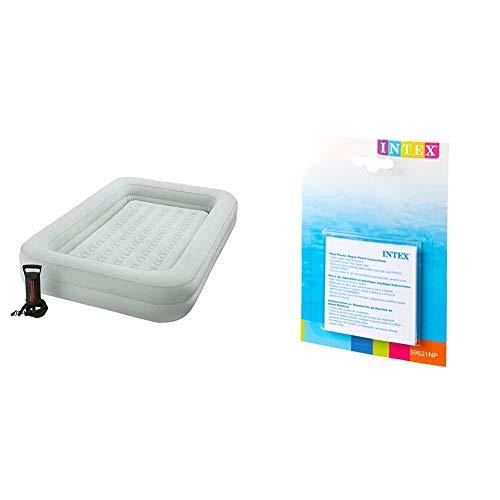 Intex 66810NP - Colchón Hinchable Infantil e hinchador - 107 x 168 x 25 cm (66810) (Modelo Variable según Imagen), PVC + 59631NP - Set de reparación Parches autoadhesivos, 7 x 7 cm