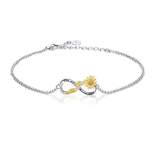 You Are My Sunshine Sunflower Necklace Bracelet - 925 Sterling Silver Infinity Adjustable Jewelry Daughter Mother Gift for Women Girls (Bracelet)