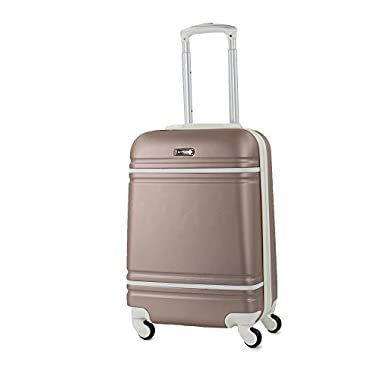 American Sport Plus Varsity 20  Carry-On Expandable Spinner Luggage (Rose Gold/White)