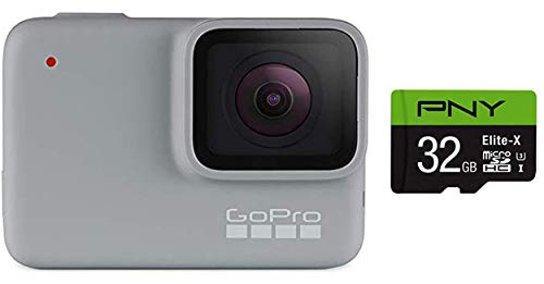 GoPro HERO7 White + PNY Elite-X 32GB microSDHC Card Adapter-UHS-I, U3 - Waterproof Action Camera with Touch Screen 1080p HD Video 10MP Photos
