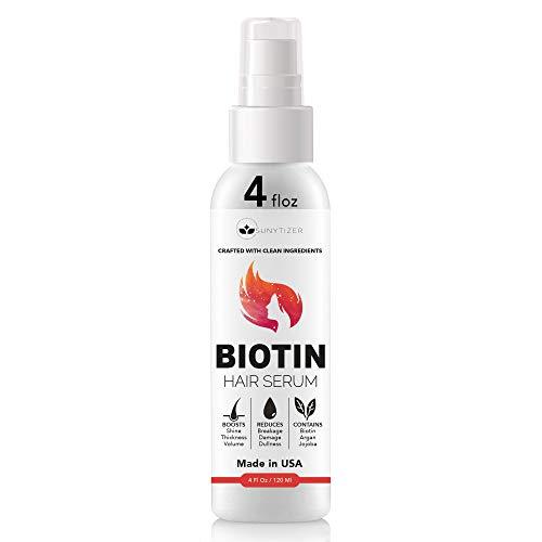 Biotin Hair Serum for Hair Growth - Made in USA - Hair Loss Serum with Argan and Jojoba Oil - Biotin Hair Growth Serum for Volume and Shine - Hair Regrowth Serum for Thicker Hair - 4 Fl. Oz.
