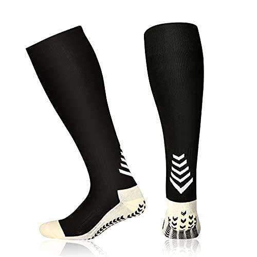 LUROON Calcetines de Compresión Knee High Transpirables Antideslizantes Calcetines Fútbol Unisex Adulto Calcetines de Deporte Hombre para Baloncesto Rugby Hockey Correr(38-47)