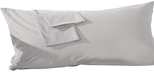 Pride Beddings 600 TC – 2 fundas de almohada de cuerpo sólido 100% algodón egipcio (50 x 54 pulgadas, color gris plateado).