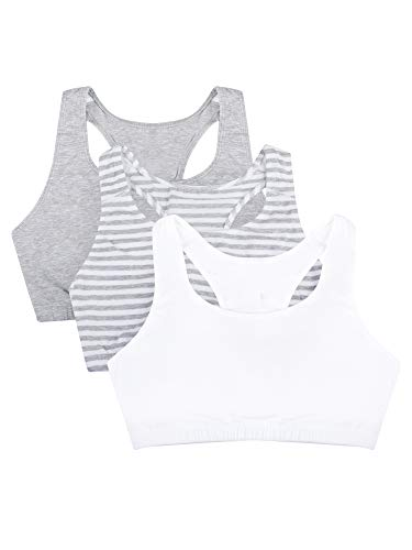 Fruit of the Loom Women's Built-Up Sports Bra 3 Pack Bra, Skinny Stripe/White/Heather Grey, 36