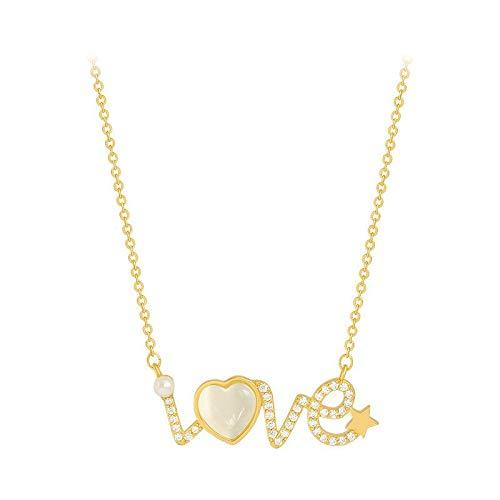 Collar De Cristal De Ópalo para Mujer, Cadena De Clavícula De Cadena De Oro Corta Salvaje para Niñas, Regalos De Cumpleaños De Aniversario De Navidad para Mujeres (Collar De Corazón De Amor)