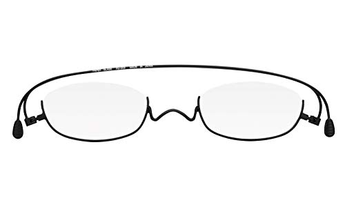 [薄型 老眼鏡 ペーパーグラス]マットカラー「アンダーリム」ブラック (+3.00) おしゃれ 携帯用ケース付き 財布に入る老眼鏡 栞(しおり)型リーディンググラス メンズ レディース ギフト 鯖江 1年間保証 003MATBK300