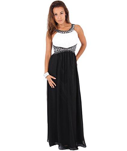 KRISP Damen Abendkleid, Weiß/Schwarz (5274), 40 EU (Herstellergröße: M, 12), 5274-WHTBLK-12