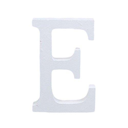 Outflower Ornements de l'alphabet Anglais Moderne Bois Grande Décoratifs Lettres en Bois à Suspendre Stickers Muraux Restaurant Décor Décoration de Mariage à la Maison en Bois Blanc Bois,8cm (E)