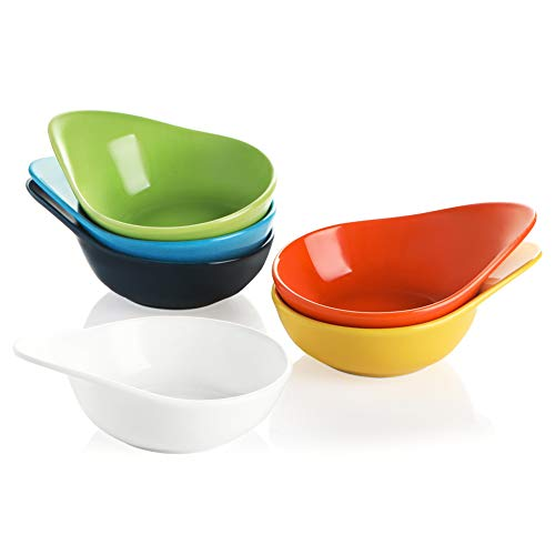 SWEEJAR Porcelain Soy Sauce Dish, 3 Ounce Dipping Bowls with Handles for Ketchup, Appetizers, Condiment, Snack, Honey Mustard - Set of 6, (Multicolour)