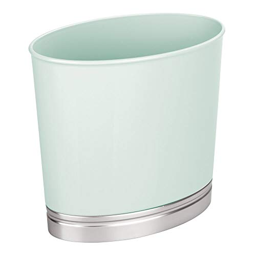 MDESIGN Mülleimer für Bad und WC – ovaler Papierkorb mit elegantem Look – Design Abfalleimer aus widerstandsfähigem Kunststoff mit gebürstetem Finish – mintgrün und silberfarben