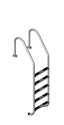 well2wellness® Hochwertige Edelstahl Einstiegsleiter V2A, 43mm Holm weit gebogen, 5 Stufen