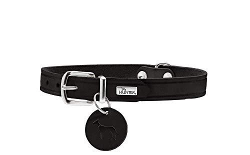 HUNTER AALBORG Hundehalsband, Leder, schlicht, robust, komfortabel, 47 (S-M), schwarz