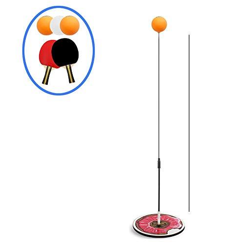 Entrenador de tenis de mesa, equipo de ejes elásticos, juego de palas de ping pong para adultos autoentrenamiento/ocio/descompresión/niño interior al aire libre, 3 balls+Wooden Rackets
