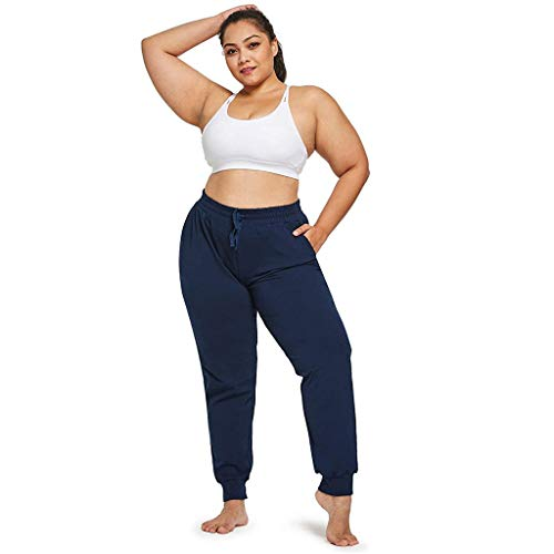 DAY8 Pantaloni Donna Larghi Morbidi Yoga Pantalone Sportivo Donna Largo Pantaloni Tuta Donna Cotone Leggero Taglie Forti Elegante con Tasche Casual Jogging Allenamento Palestra (Navy, L3)