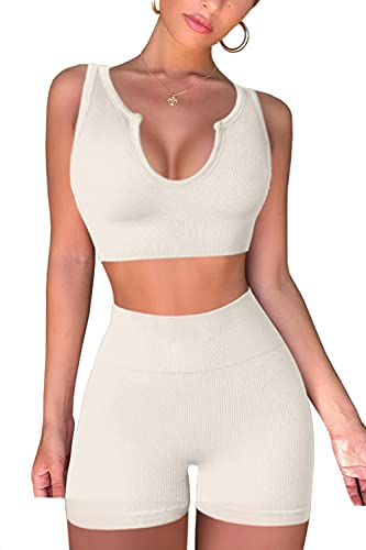 FAFOFA Yoga Outfit for Women Ribbed Seamless Crop Tank Tops High Waisted Shorts 2 Piece Workout Sets Beige S