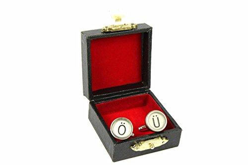 Miniblings Buchstabe Umlaut Initiale Schreibmaschine Manschettenknöpfe - Handmade Modeschmuck I Manschettenknopf Cufflinks Hemdknöpfe I Holzbox inklusive - Buchstabe Umlaut Initiale Schreibmaschine