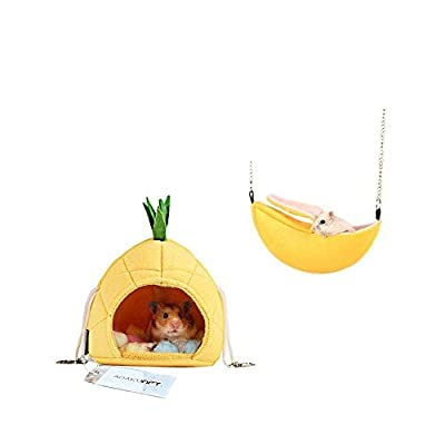 2 Pack of Hamster Bedding, Chinchilla Cage Accessories Hammock, Hamster House Toys for Small Animal Sugar Glider Squirrel Chinchilla Hamster Rat Playing Sleeping by Amakunft