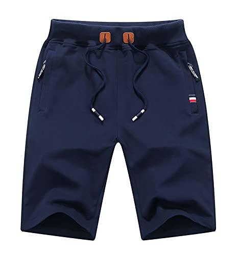 Leezepro Uomo Pantaloni Bermuda Sportivi Pantaloncini Corti in Cotone con Zip Tasche per Estate Fitness Casual Shorts (M, Blu Scuro)