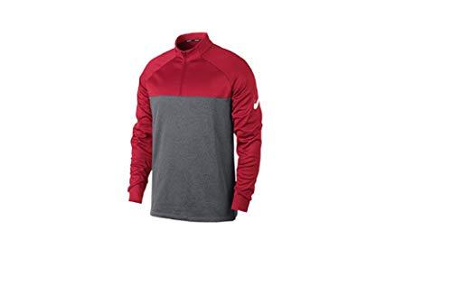 NIKE Mens Therma Core Golf Half Zip Shirt University Red/Dark Grey/Heather/White 854498-657 Size Small