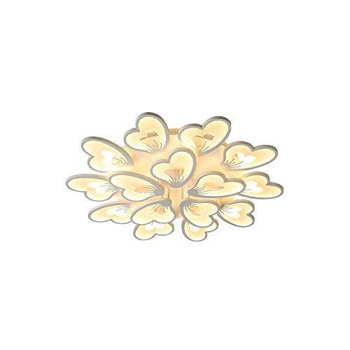 SAFGH Lámpara de Dormitorio para habitación de Matrimonio con atenuación Continua con Control Remoto, lámpara de Techo de acrílico Blanco en Forma de Flor, cálida y romántica, lámpara de Techo par