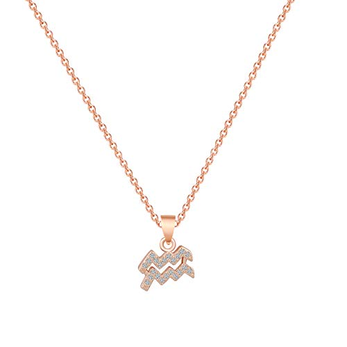 Zodiac Sign Necklace CZ Horoscope Zodiac 12 Constellation Pendant Necklace Birthday Gift for Women Astrology Jewelry (Rose Gold, Aquarius)