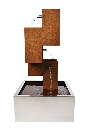 Köhko® Wasserspiel Brunnen mit LED-Beleuchtung Höhe 70 cm aus Cortenstahl mit Edelstahl-Becken Wasserfall Wasserspiel 32005