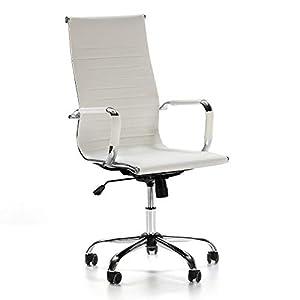 VS Venta-stock Sillón de Oficina Londres reclinable Blanco, Piel sintética, Silla ejecutiva con reposacabezas y conjín…